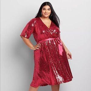 Plus Size Sequin Faux Wrap Dress